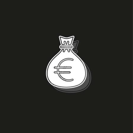 euro money bag illustration - vector euro symbol - money bag isolated. White flat pictogram on black - simple icon
