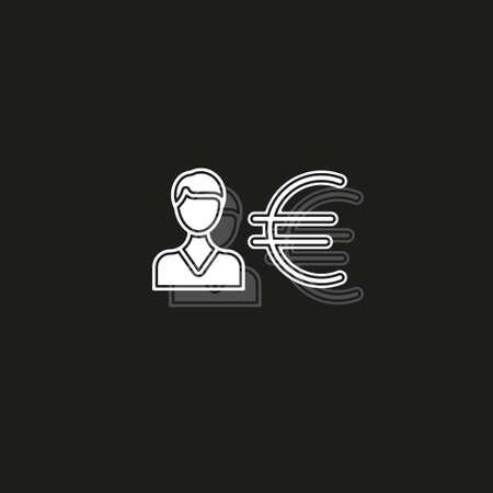 Business man with Euro sign - money symbol, banking illustration. White flat pictogram on black - simple icon