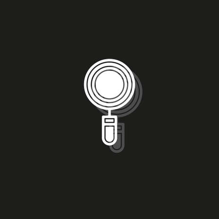 magnifying glass symbol, find icon - search button, magnifier symbol isolated, zoom. White flat pictogram on black - simple icon