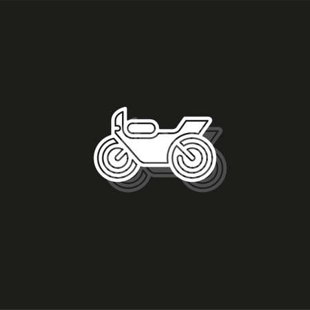 vector Motorcycle illustration - vector motorbike symbol, race bike. White flat pictogram on black - simple icon
