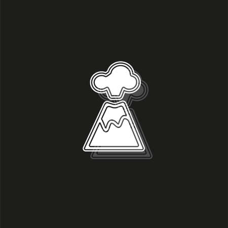 Volcano magma nature blowing up with mountain lava flowing down vector. White flat pictogram on black - simple icon