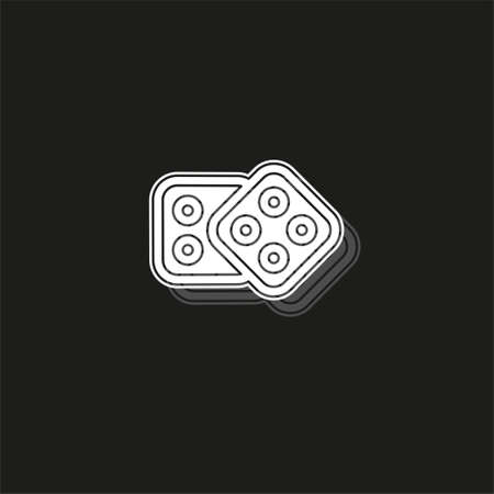 Dices icon. Casino game icon - casino game illustration - Dices isolated. White flat pictogram on black - simple icon