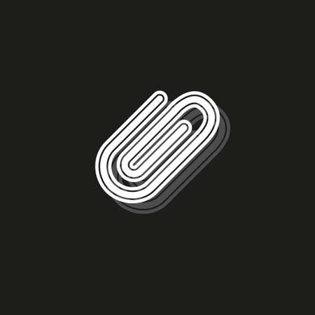 paper clip sign, attachment icon - paper clip, email attachment, attached file. White flat pictogram on black - simple icon