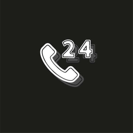 24h Call center - help icon, technical support icon, computer service support, tech support concept. White flat pictogram on black - simple icon