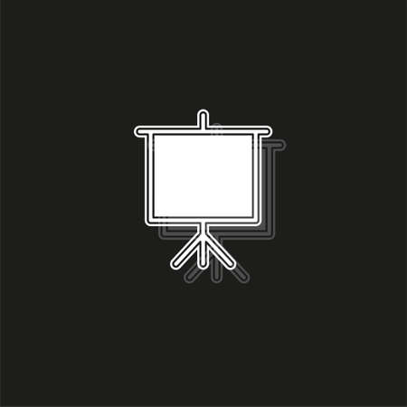 education board icon, school chalk board illustration, drawing symbol. White flat pictogram on black - simple icon Illustration