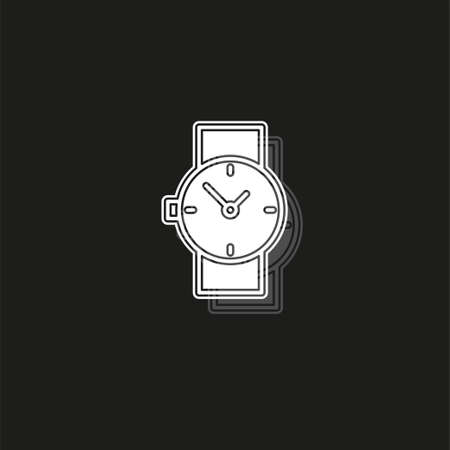 hand watch icon, Clock icon - Clock symbol, vector Clock isolated. White flat pictogram on black - simple icon Illustration