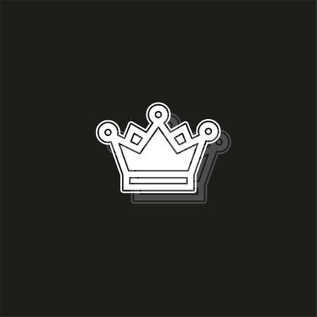 golden crown icon - vector king crown - queen symbol - majestic element. White flat pictogram on black - simple icon