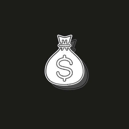money bag icon - vector dollar sign - banking cash - finance investment icon. White flat pictogram on black - simple icon Vectores