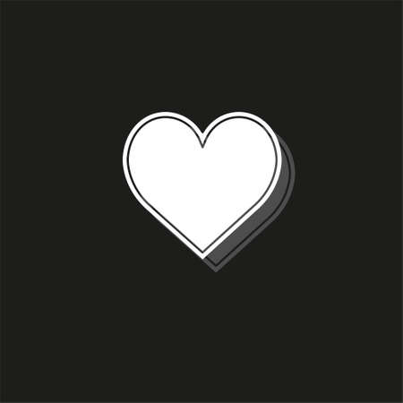 vector love sign. heart illustration, valentine symbol icon. White flat pictogram on black - simple icon Illustration