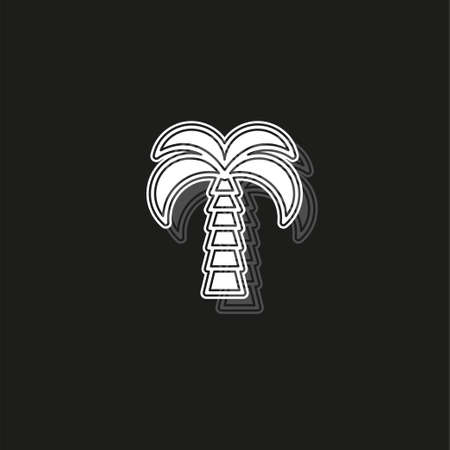 vector palm tree illustration, beach island sign - travel icon. White flat pictogram on black - simple icon