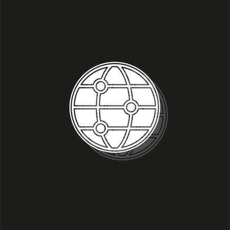 vector global network icon, internet technology abstract, social networking sign symbol - communication concept. White flat pictogram on black - simple icon