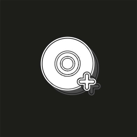 Add dvd - vector cd compact disc illustration, digital data information icon. White flat pictogram on black - simple icon