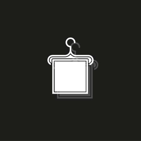 vector towel icon illustration isolated - bathroom sign symbol. White flat pictogram on black - simple icon Illustration