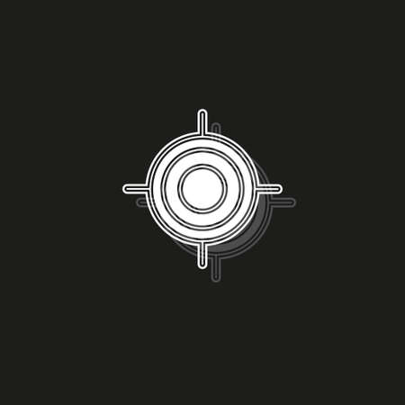 crosshairs icon - vector target aim, sniper symbol - weapon illustration. White flat pictogram on black - simple icon