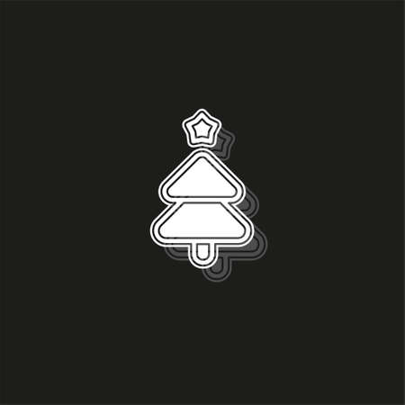 vector Christmas tree illustration - xmas silhouette symbol, winter holiday element isolated. White flat pictogram on black - simple icon