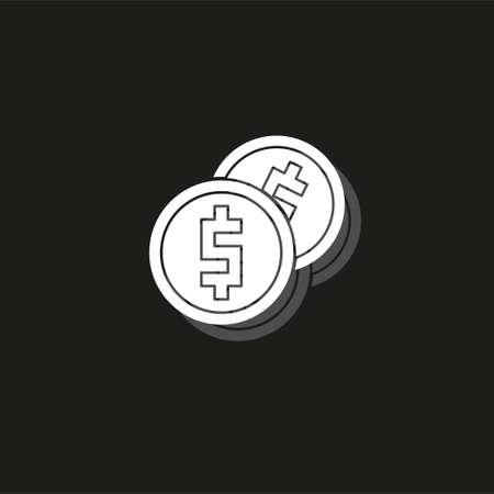 Vector money Icon. Payment system. Coins and Dollar cent Sign isolated on white background. Flat design style. Business concept. White flat pictogram on black - simple icon Illustration