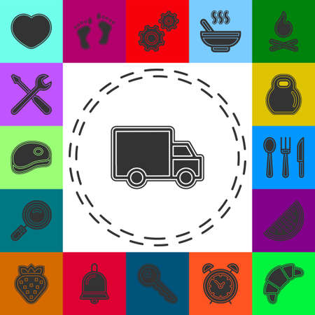 Delivery truck icon isolated on white background. Vector simple illustration. Flat pictogram - simple icon