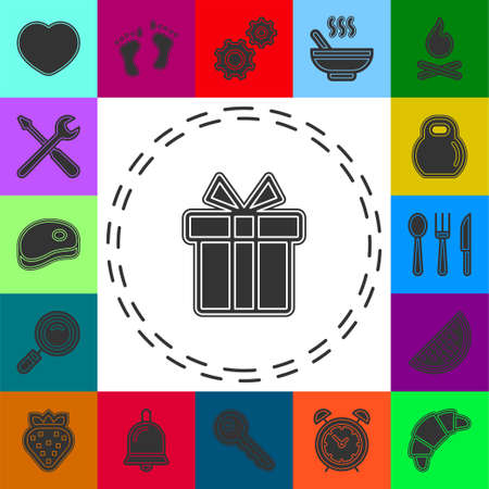 vector gift box, holiday present package - celebration illustration, giftbox icon. Flat pictogram - simple icon