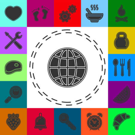 Vector earth globe illustration. planet symbol. world map icon. Flat pictogram - simple icon 矢量图像