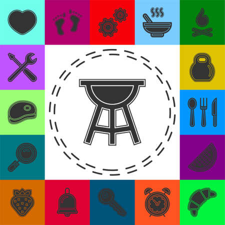 vector bbq grill illustration - food party icon, outdoor picnic barbecue sign. Flat pictogram - simple icon