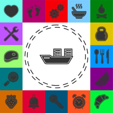 vector shipping boat illustration - travel icon - cruise boat symbol. Flat pictogram - simple icon 矢量图像