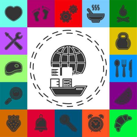 boat. ship icon, cruise ship - vector boat illustration, sea travel symbol. Flat pictogram - simple icon