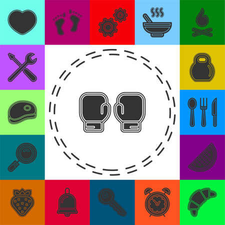 Boxing gloves fight icon, vs. fight Battle emblem vector illustration. Flat pictogram - simple icon