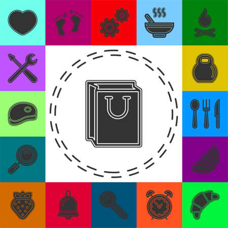 vector christmas bag icon. shop bag - retail and merchandise container. Flat pictogram - simple icon 矢量图像