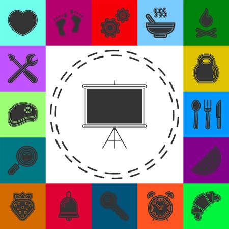 education board icon, school chalk board illustration, drawing symbol. Flat pictogram - simple icon 矢量图像