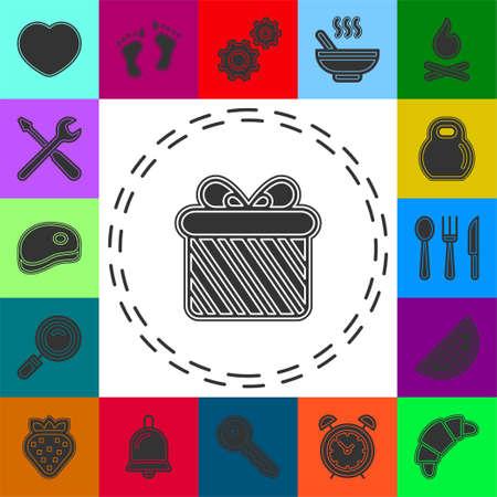 gift box icon - vector present icon - holiday celebration symbol. Flat pictogram - simple icon 矢量图像
