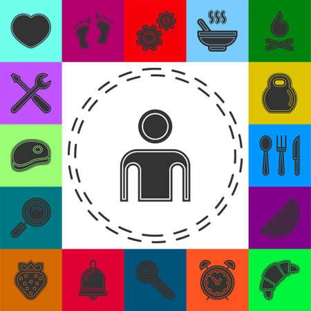 vector user icon, avatar silhouette, social symbol - member sign. Flat pictogram - simple icon 矢量图像