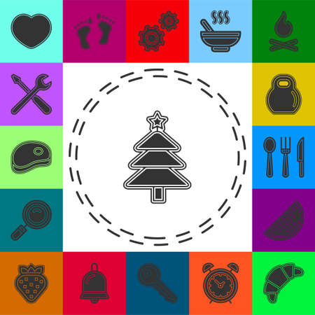 vector Christmas tree illustration - xmas silhouette symbol, winter holiday element isolated. Flat pictogram - simple icon