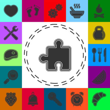 vector puzzle piece illustration - jigsaw symbol, teamwork or solution concept. Flat pictogram - simple icon