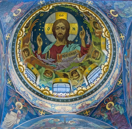 jesus paintings: The face of Jesus in the Church of the Savior on Spilled Blood