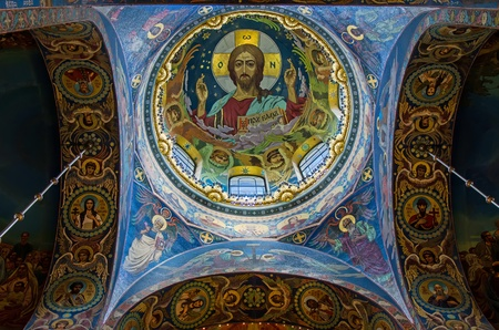 Russia, St. Petersburg - 03.09.2012: The face of Jesus in the Church of the Savior on Spilled Blood