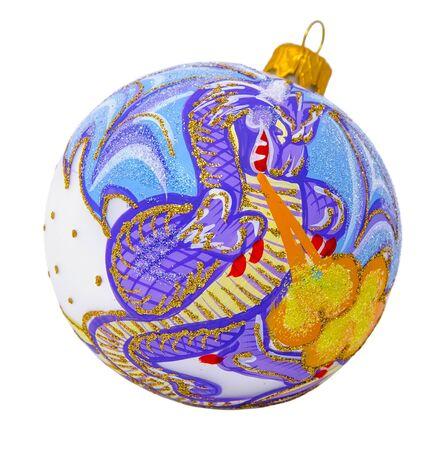 christmas dragon: Christmas ball with the image of a fire-breathing dragon