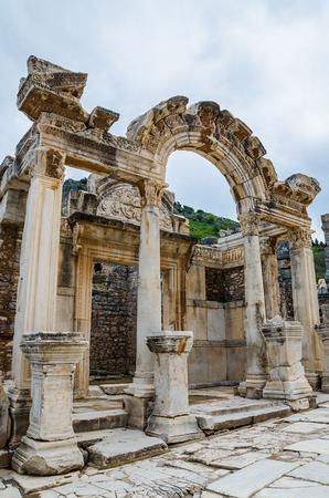 hadrian: Ruins temple of Hadrian in Ephesus, Turkey Stock Photo