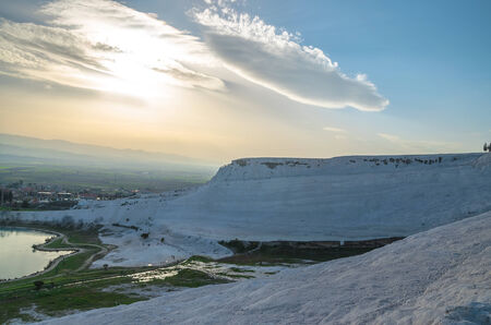 carbonate: Sunset and the view from Pamukkale, Turkey