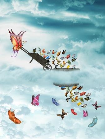 carretilla: Bellas mariposas en el cielo