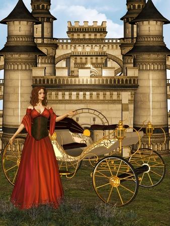 castillos de princesas: Ilustraci�n de la doncella en su castillo. Foto de archivo