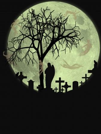 spooky graveyard: Illustration of a halloween scene Stock Photo
