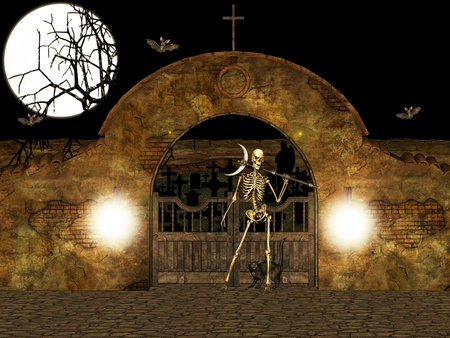 ghost town: Illustration of the cemetery guardian.