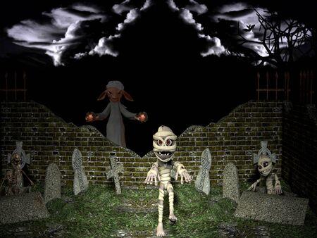 Halloween night. Resurrection of the dead on Halloween night.