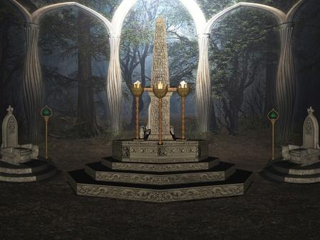 Das Ritual in der geheimen Wald. Standard-Bild