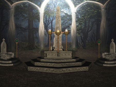 obelisk stone: The ritual in the secret forest.