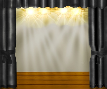 The stage with gray velvet curtains and wooden floor. Stock Photo