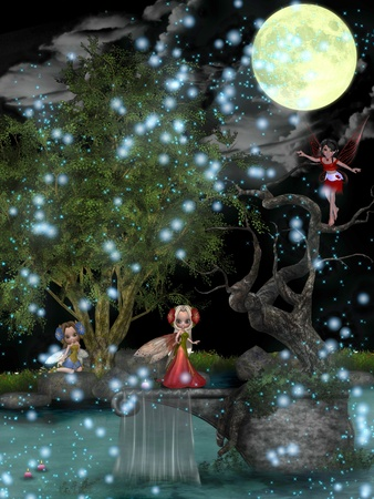Fairies playing in the woods under the moonlight. photo
