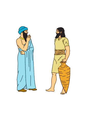 hebrews: The agreement of two Persian traders Stock Photo