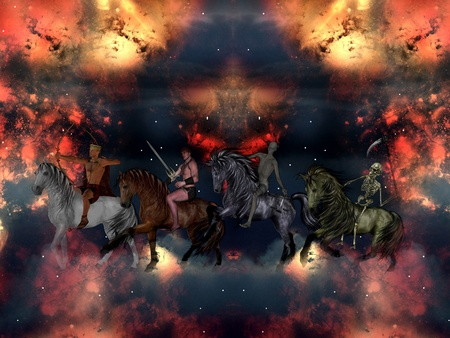antichrist: The Four Horsemen of the Apocalypse in the sky. Stock Photo