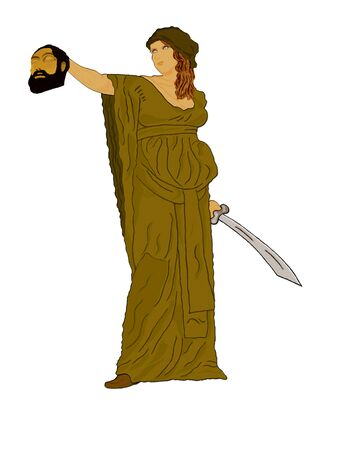 israel war: Judith holding up the head of Holofermes Stock Photo